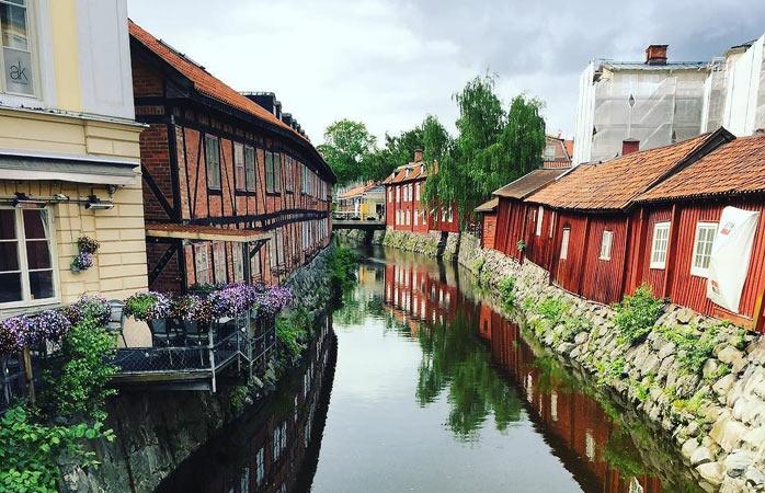 Pittoreska hus i Västerås, en av Sveriges äldsta städer