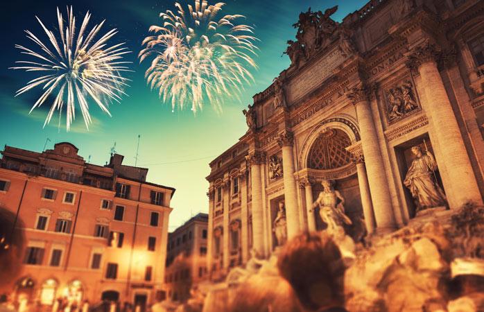 Fontänen Trevi i Rom är ett trevligt ställe att välkomna det nya året på